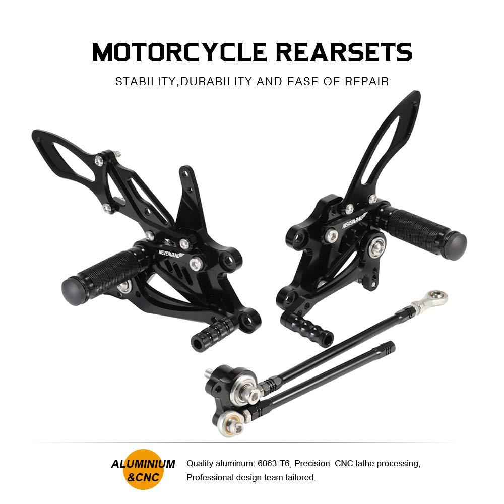 NEVERLAND CNC Motorcycle Adjustable Rearsets Footpegs Rear Sets for HONDA CBR1000RR 2004 2005 2006 2007,CBR600RR2003 2004 2005 2006 Black