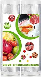 """Trunple Vacuum Sealer Rolls & Vacuum Sealer Bags [12""""x16'] for Food Heavy Duty Food Storage,2 Pack"""