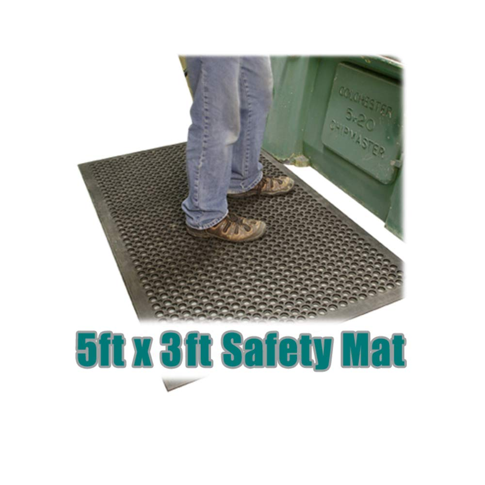 Rubber Floor Safety Mat 5ftx3ft Anti-Fatigue Workshop Drainage Matting Longbow