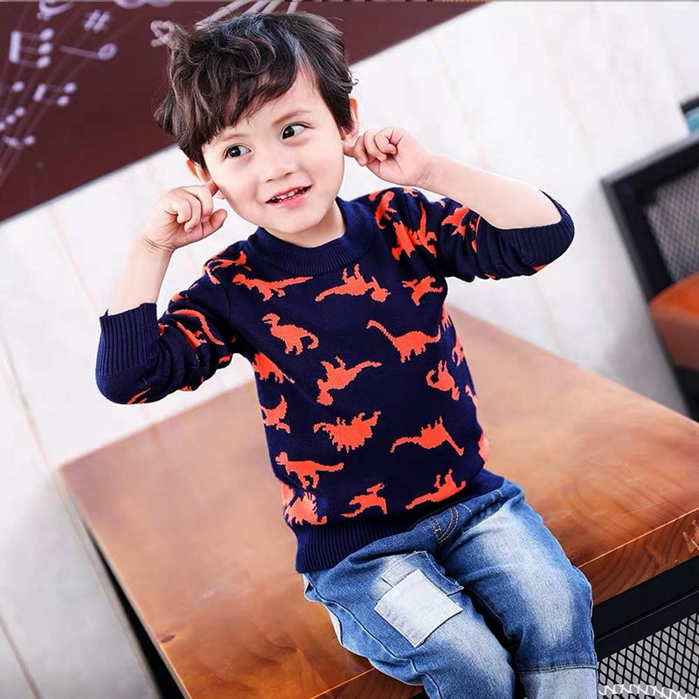 Coralup Little Kids Dinosaur Sweater Pullover Baby Boys Girls Knit Sweatshirt Autumn Winter Warm Tops for Toddler 4 Colors 2-7 Years