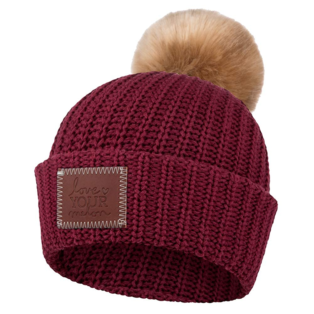 Love Your Melon Cuffed Pom Beanie Burgundy (Natural Pom) at Amazon Men s  Clothing store  d6a30024ad9