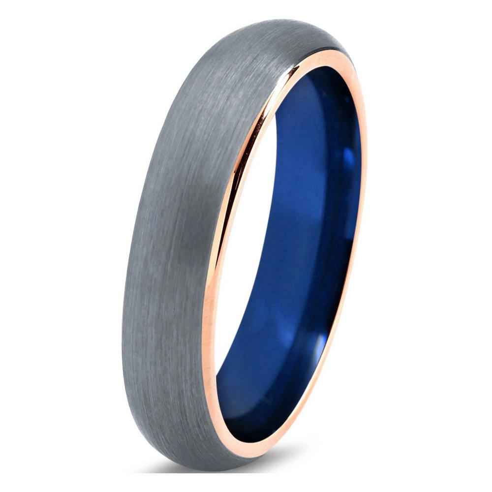Tungsten Wedding Band Ring 4mm 6mm 8mm for Men Women Blue 18k Rose Gold Domed Brushed Polished FREE Custom Laser Engraving Lifetime Guarantee