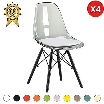 mobistyl 4 x chaise design inspiration eiffel pieds bois noir assise transparent gris dswb tg - Chaise Transparente Pied Bois