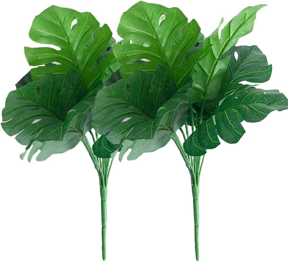 2Pcs Artificial Grass Plants Fake Monstera Leaf Stems for Home Wedding Decor Faux Monstera Leaf Stems Plant Bride Bouquet Vase Floral Arrangement (Green)