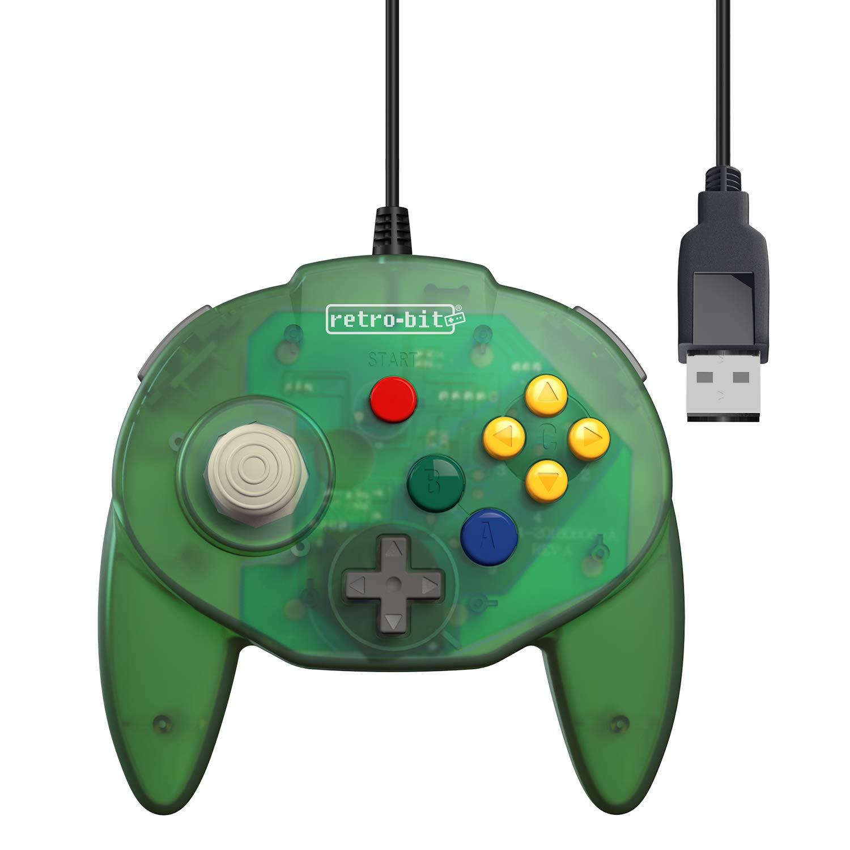 Retro-Bit Tribute 64 USB Controller for PC, Switch, Mac, Steam, RetroPie, Raspberry Pi - USB Port - (Forest Green)