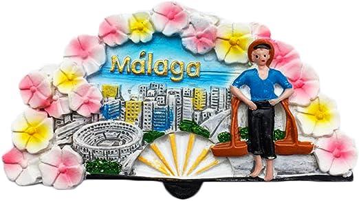 Pegatina de recuerdo para nevera hecha a mano en España con imán 3D de Málaga: Amazon.es: Hogar