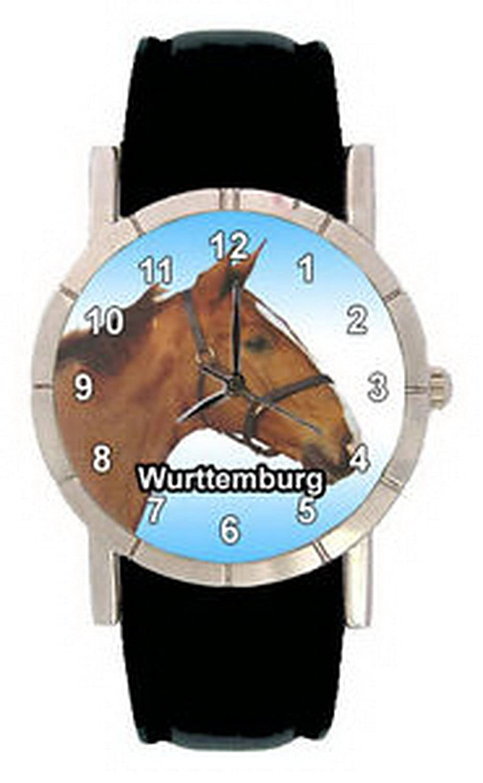 jwl0557 Wurttemburg Pony Horseメンズレディース本革クォーツ腕時計 B01MRY5KEI