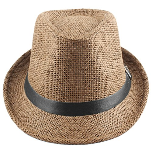 Samtree Unisex Braid Straw Fedora Hat,Classic Short Brim Belt Panama Cap(Khaki) (Hat Summer Fedora Braid)