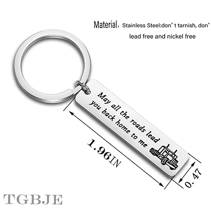 TGBJE Truck Driver Key Chain May All The Roads Lead You Back Home to Me Keychain Long Distance Gift,Gift for Trucker Wife,Mom