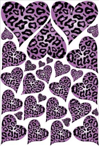 Purple Leopard Cheetah Print Hearts Wall Stickers Decals   Wall Decor  Stickers   Amazon.com Part 94