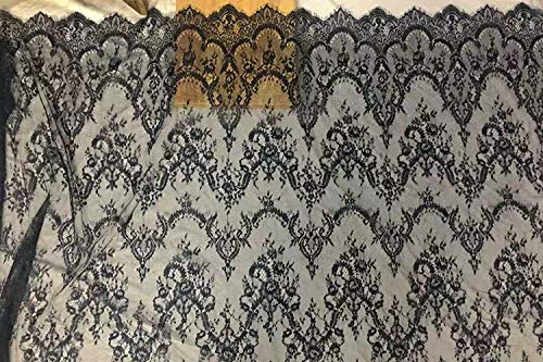 Ivory Lace Fabric Eyelash Chantilly Floral Bridal//Wedding Dress Flower African Lace Table Cloth DIY Crafts Scallop Trim Applique Ribbon Curtains 300cmx150cm ALE02