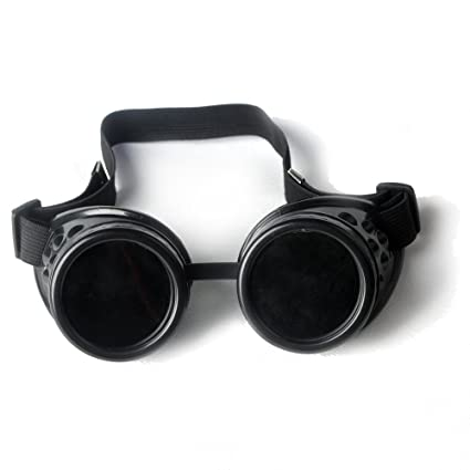 ZAIQUN Gafas de soldar Ajustables Steampunk Gótico Cosplay, Black Framre Goggle+Black Lens,