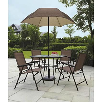 Beau Sand Dune 6 Piece Patio Dining Set With Umbrella