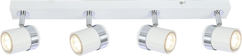 Faretti da soffitto a 4/vie regolabile GU10/lampade nero bianco cromo satinato White