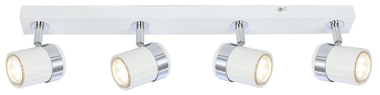 Ceiling Adjustable 4 way Spotlight bar Light Fixture Black White Satin Chrome (Black) [Energy Class A+] UKEW