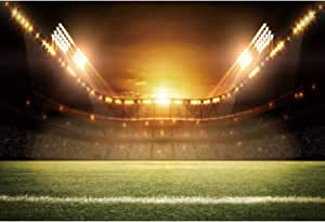 Hasdrop Football Field Backdrop 7X5FT Vinyl Interior Stadium Backdrops Green Grass Meadow Sports Match Stage Lights Gym Photography Background for School Game Boys Birthday Photo Studio Props HKX122