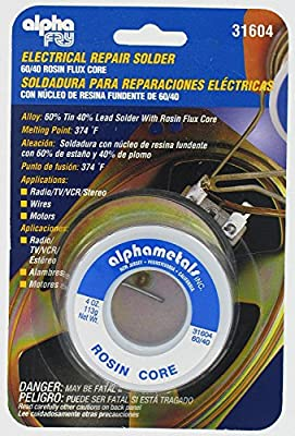 Alpha Fry AT-31604 60-40 Rosin Core Solder (4 Ounces)