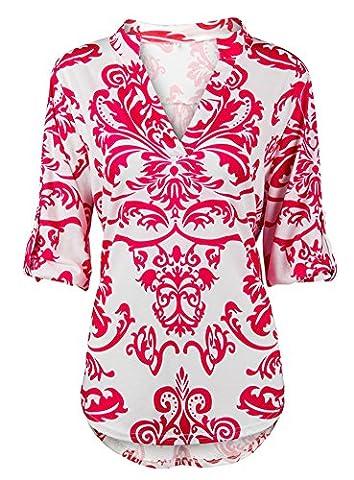 YOUHUA Women Deep V Neck 3 4 Sleeve Floral Print Casual Loose Long Shirt(HY0628-pink-XXL) - Pink Floral Shirt