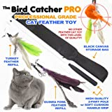 The Bird Catcher Pro – Best Interactive Cat Toy Super Wand Fishing Pole Teaser with Two (2) Feather Refill Replacement Pack like the Original Go Cat or Da Bird! Fun Dancer Dangler Chaser Charmer (for Indoor Kittens Young or Older Cats) to Run Play Chase! Guaranteed Addictive and Good Feline Training Exercise for Cats, My Pet Supplies
