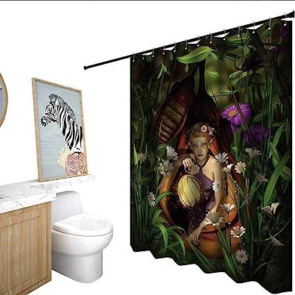 Amazon Princess Polyester Shower Curtain A Female Elf Sitting