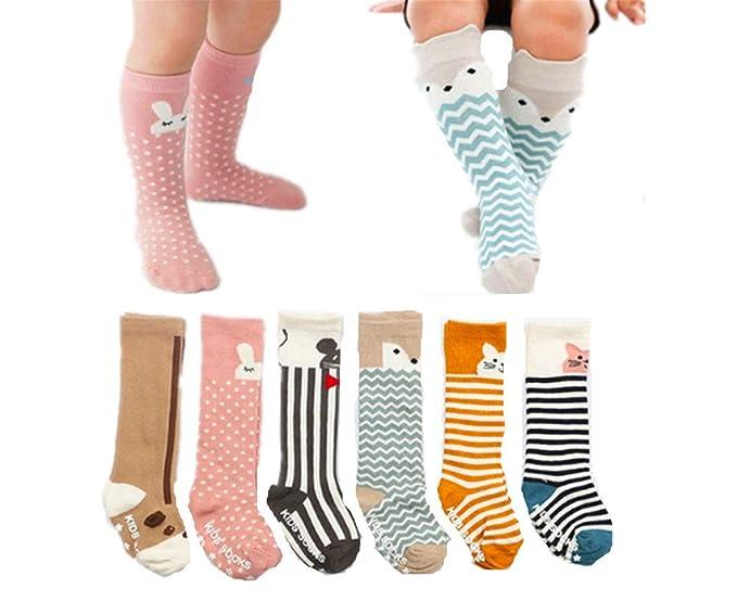 ada40fe2f 6 Pairs Cotton Toddler Socks Non Skid Knee High Socks for Baby Boys   Girls  (