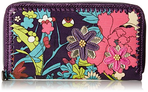 Sakroots Artist Circle Large Wallet, Violet Flower Power, One Size