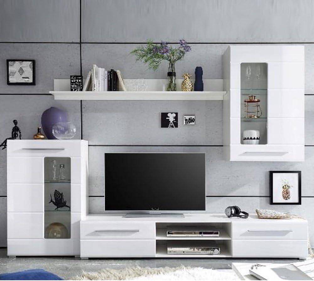 Stella Trading Wohnwand Weiß Hochglanz, Wohnzimmerschrank, Enrique 10