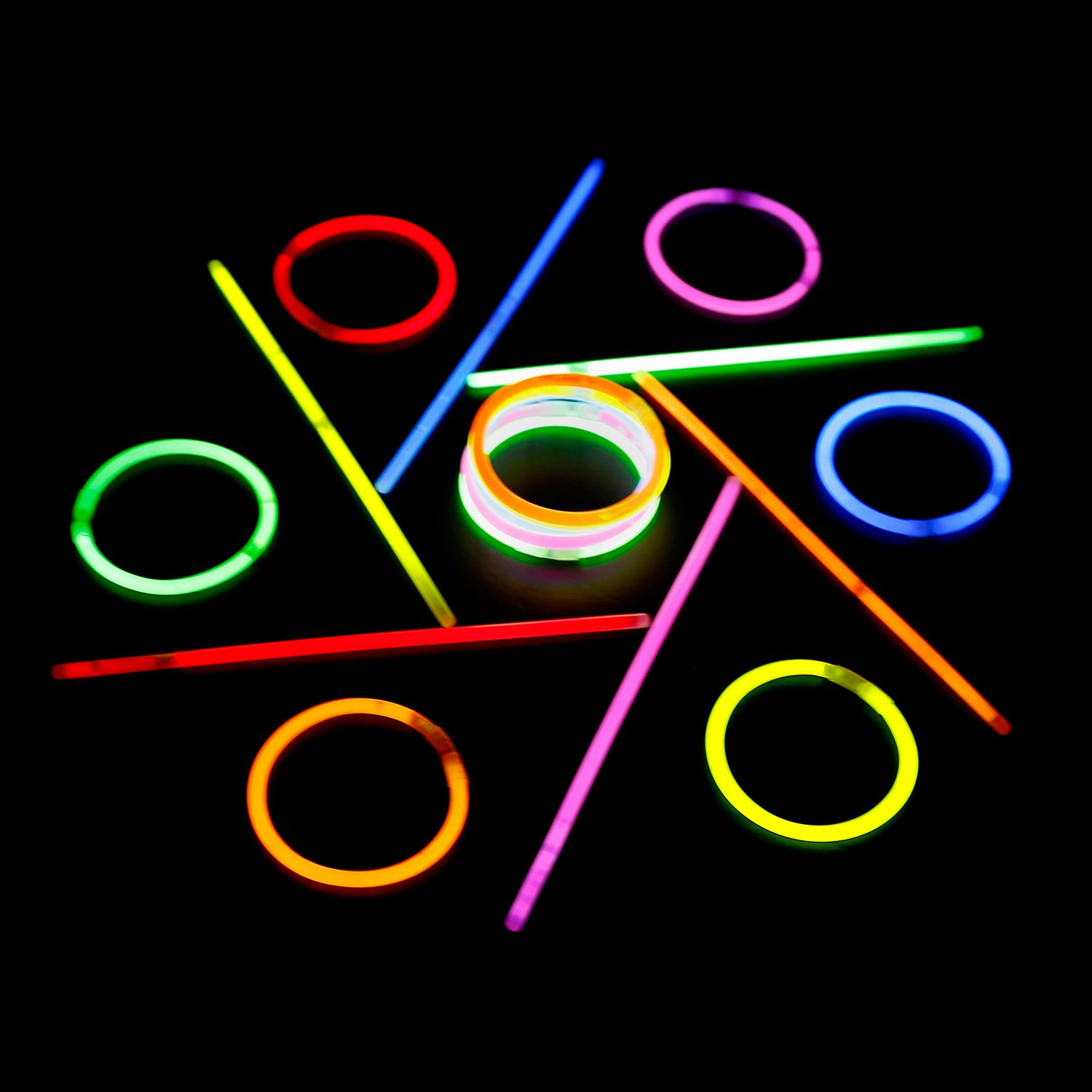 Kid Safe Non-toxic Glowstick Party Pack Authentic Lumistick Brand 300 8 Glow Sticks with Connectors Bright Glow Long Lasting GLM-SZT5200-23908SMF-100-3 for Light Up Bracelets and Necklaces Total 600 Pcs Assorted, 300