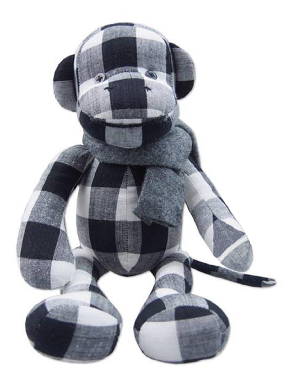 Lovely 10-Inch Black-White Thai Hand-woven Cotton Little Monkey Soft Toy