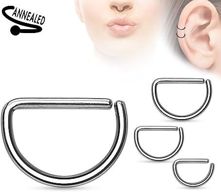 Choose Length adit/_mc 1 Pair Silver Ear Piercing Tragus Rook Snug Helix Daith Nose Septum Hoop Annealed Rings 16g 1.2 mm