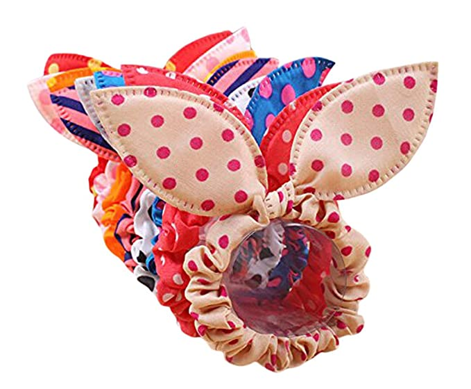 10 Pcs Assorted Color Cute Chiffon Dot Rabbit Ear Hair Bow Head Tie Bands Ponytail Holder Hot for Girls Teen