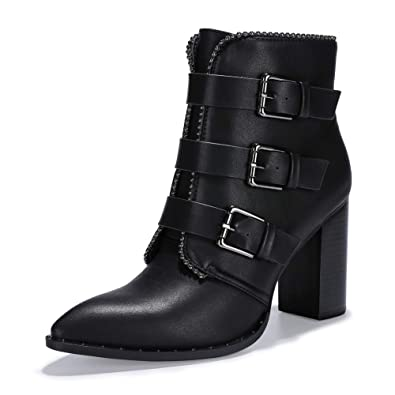 41a6bedc5e09 IDIFU Women s Vivian-S Buckle Strap High Block Heel Short Boots Pointed Toe  Side Zipper