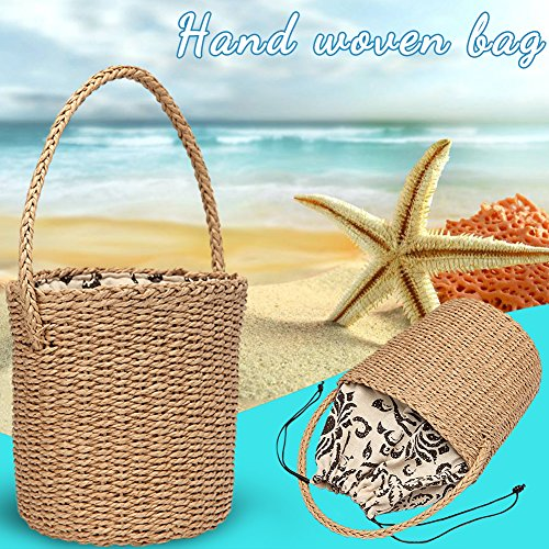 Shopping Beaches Bag Straw Bloomma Handle for Bag Drawstring Party Rattan Summer Woven qOvxHz