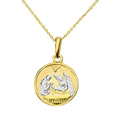 medallion solid market etsy il baptism pendant yellow charm medal rose gold necklace tricolor round white