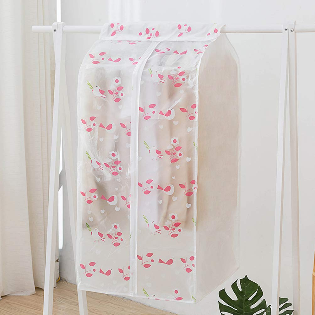 YJBear 1 Pack Rosy Singing Bird Printed Frosted White PEVA Hanging Garment Bag for Closet Dust-Proof Garment Rack Cover for Clothes Cover Bag Mildewproof Organize Storage 23'' X 20'' X 43.3''