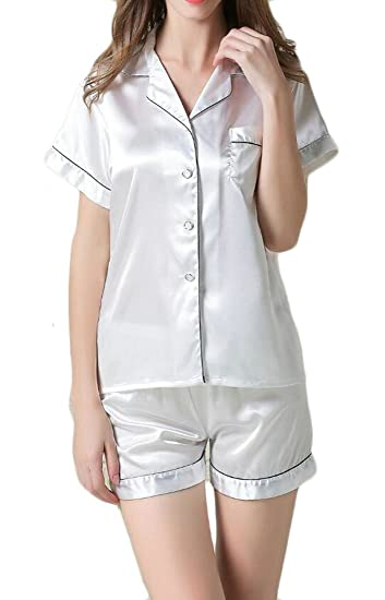 Spirio Womens 2 Pieces Short Sleeve Satin Silk Buttons Nightwear Pajama Set  at Amazon Women s Clothing store  2c6310987