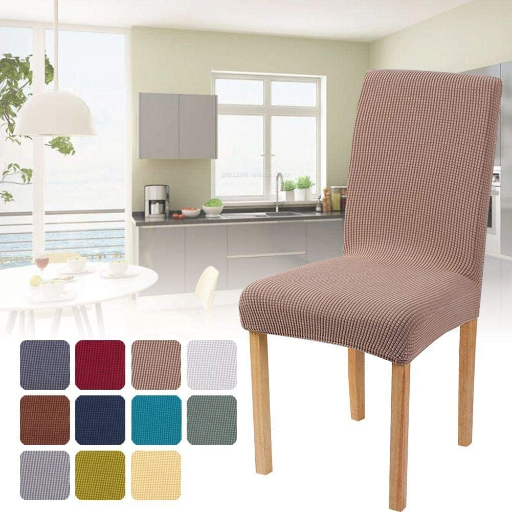HOTEU Soft Chair Covers Slipcovers Stretch Modern Removable Washable Short Dining Chair Protector Cover Seat for Hotel Dining Room Light Coffee
