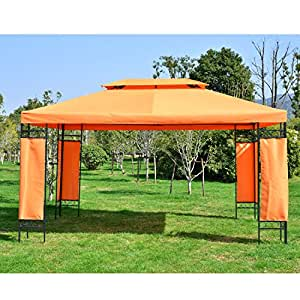 Outsunny 3mx4m Gazebo Steel Frame Marquee Patio Garden Double top pavilion with Canopy Awning Tent Waterproof Terracotta Red