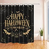 NYMB Happy Halloween Decor, Bat with Pumpkin Shower Curtain, Polyester Fabric Waterproof Bath Curtain, 69X70 in, Shower Curtains Hooks Included, Black(Multi5)