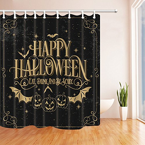 NYMB Happy Halloween Decor, Bat with Pumpkin Shower Curtain, Polyester Fabric Waterproof Bath Curtain, 69X70 in, Shower Curtains Hooks Included, (Happy Halloween Bats)