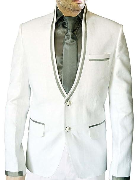 INMONARCH Apuesto traje blanco de lino LS29: Amazon.es: Ropa ...