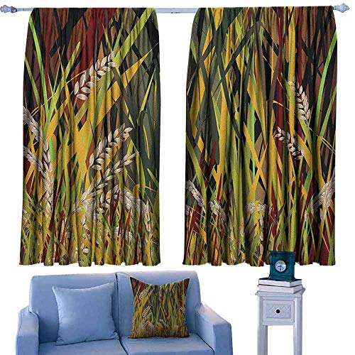 GAAGS Decor Curtains,Nature Reeds Dried Leaves Wheat River Wild Plant Forest Farm Country Life Art Print Image,for Patio/Front Porch,W55x72L Inches Multicolor ()
