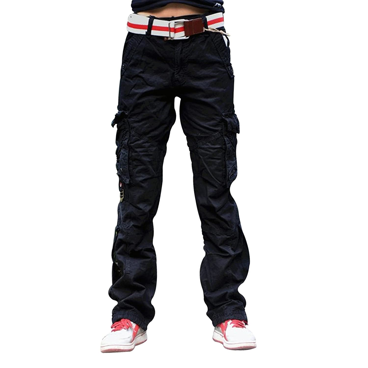 Eskaay Women's Casual Cargo Pants Solid Military Army Styles Cotton Trousers