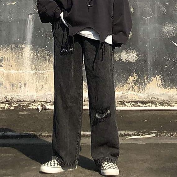 メンズ デニムパンツ ジーパン ジーンズ ゆったり ワイドパンツ ストレート 美脚 ダメージ加工 カジュアル オールシーズン カーゴパンツ ブラック ブルー 「B&ji-nnzu」 (Color : Black, Size : XL)
