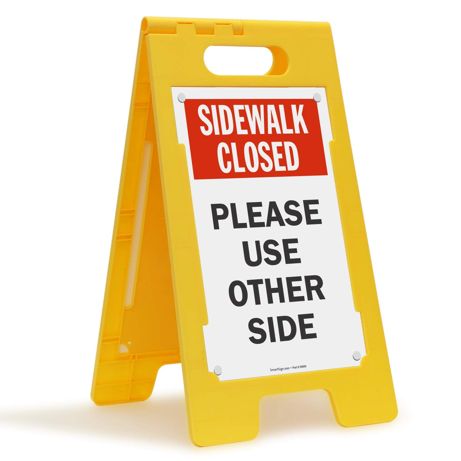 ''Sidewalk Closed - Please Use Other Side'' Folding Floor Sign By SmartSign | 25'' x 12'' Plastic