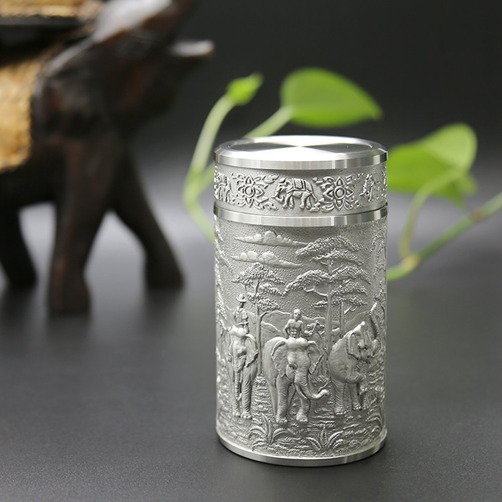 Oriental Pewter - Pewter Tea Storage, Caddy -TPCM4- Hand Carved Beautiful Embossed Pure Tin 97% Lead-Free Pewter Handmade in Thailand by Oriental Pewter
