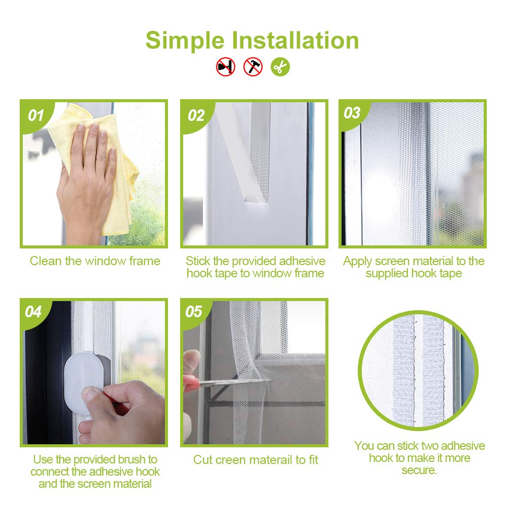 White Pack of 4 Rabbitgoo White Window Screen Fly Mosquito Screen Insect Mesh Net Window Curtains with Self-Adhesive Hook Tape for Protecting Baby /& Family,130CM*150CM
