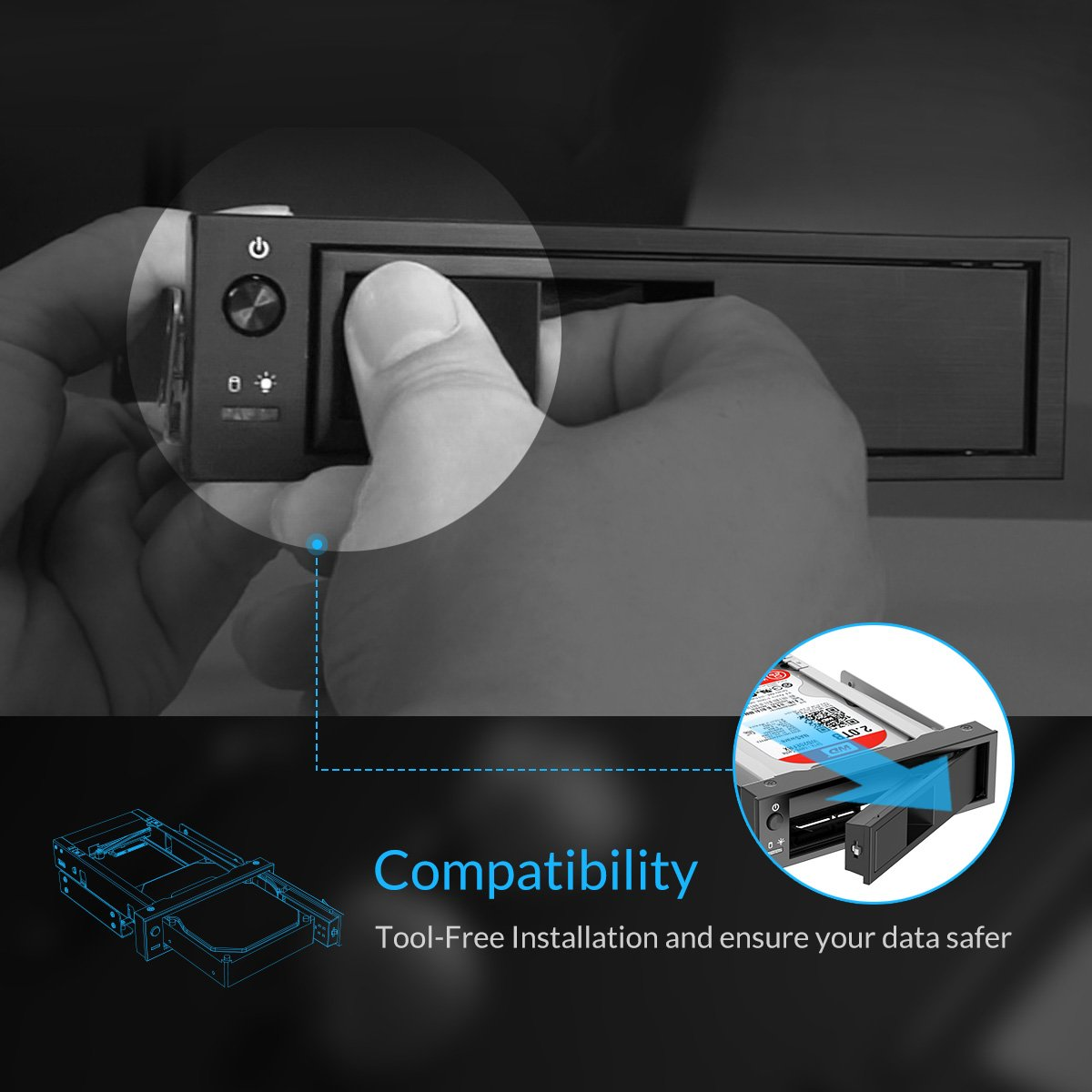 Orico 1106ss 525 Trayless Hot Swap Mobile Rack Cd Rom 3569s3 35 Inch Hdd Sata30 Tool Free Hard Drive Enclosure Internal Sata Ssd Adapter Black Computers Accessories