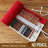 Tuersuer Foldable Pencil Bag Stationary Storage Bag 72 Holes Pencil Case (Red)