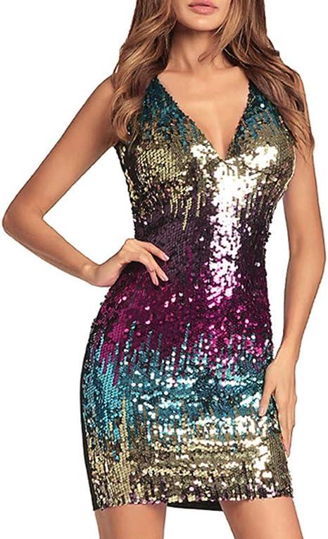 BAIVIN Vestido de Lentejuelas de Color Sling Bolsa Sexy Falda de ...